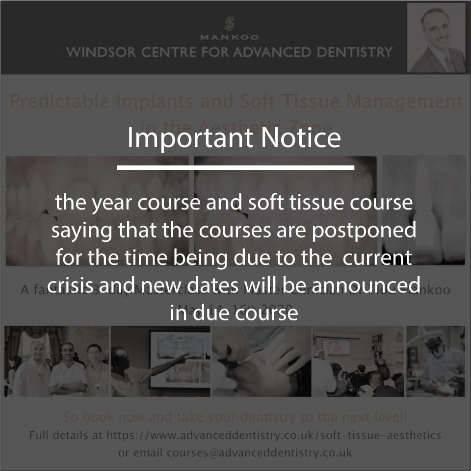 The year course and soft tissue course are postponed for the time being due to the current crisis and new dates will be announced in due course.